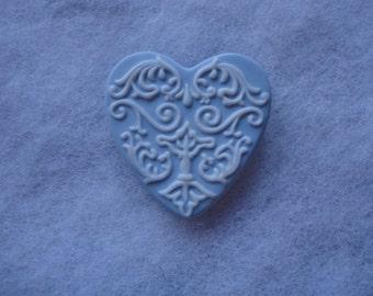 Vintage Wedgwood Blue White Heart Brooch, Valentine Day Gift, Blue Heart, Wedgwood Jasperware Blue Heart Brooch, Heart Shape Pin, Blue Heart