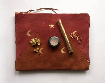 FREE SHIPPING // Patchwork Zip Clutch // one of a kind // maroon and brown suede with golden moons and stars print