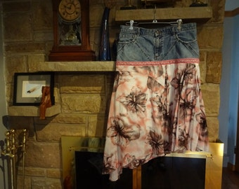 Upcycled Funky Women's Jean Skirt size 10