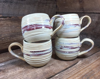 Set of FOUR 16 oz Hand Carved Coffee Mugs in Butter with Cranberry accent