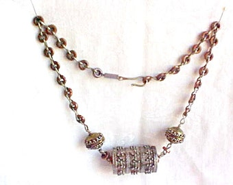 Mixed Metal Tribal Necklace - Tibetan Prayer Wheel Focal Bead - Silverplate Goldplate and Copper - Granular Decoration - Hand Crafted - 20""