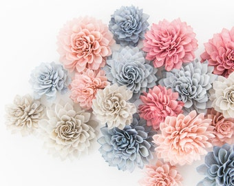15 Mixed Wooden Flowers - Rose Quartz Collection - Wooden Flowers, Blue Flowers, Vintage Wedding Flowers, Wedding Table Decor