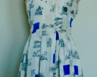 "Vintage Shirtwaist Dress- ""Fishermen, Turkeys & Windmills!"" - SALE"