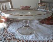 "Jeannette Glass ""Harp"" Pedestal Dish Cake Stand Plate 1950s"