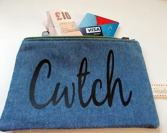 Cwtch (Welsh) Coin Pouch, Small Zipper Purse, Small Cosmetics Bag, Little Denim Purse, Dummy Pouch, Pacifier Pouch, Welsh Coin Pouch