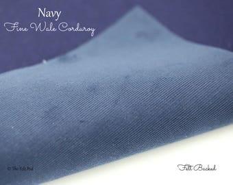 Navy Corduroy // Robert Kaufman Fabric // Fabric Felt // Felt Backed Fabric // 21 Wale Corduroy // Fine Wale Cord // Baby Wale