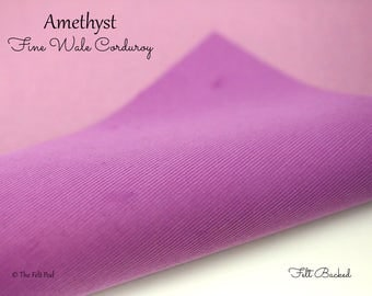 Amethyst Corduroy // Robert Kaufman Fabric Felt // Felt Backed Fabric // 21 Wale Corduroy // Fine Baby Wale Corduroy // Fine Wale Cord