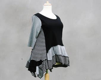 Striped chaos shirt, Size XL- L, Black  grey, a-symmetrical, Upcycled cotton, recycled woman, 3/4 sleeved, hippie, pixie, eco friendly, OOAK