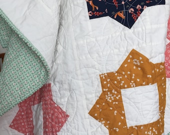 Lap, Throw, Couch, Toddler girl navy mint peach mustard white gold modern patchwork foxes foxy