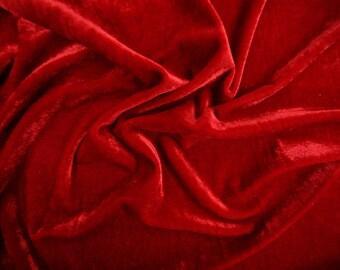 """Red Stretch Velvet Fabric 58"""" Wide Per Yard"""