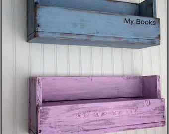 Bookshelves, Personalized, Shelf, Reclaimed Wood, Children, Nursery, Girls, Boys, Bathroom, Distressed, Blue, Pink, Wall Hanging