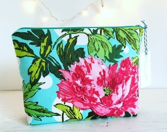Beautiful Bright Makeup Bag / Purse / Storage Zip up Pouch Amy Butler Soul Blossoms Fabric Handmade Perfect Gift