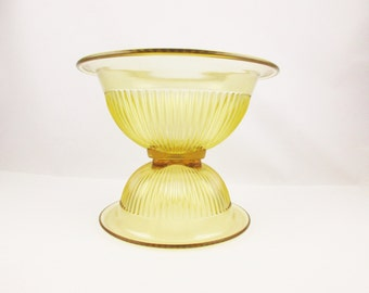 Two Nesting Bowls - Amber 'Federal Glass' Depression Glass - Vege Bowls - Farmhouse Chic - Wide Rim, Ridged Bowls