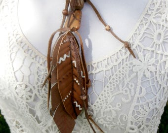 Leather Feather Fringe and Bead Necklace