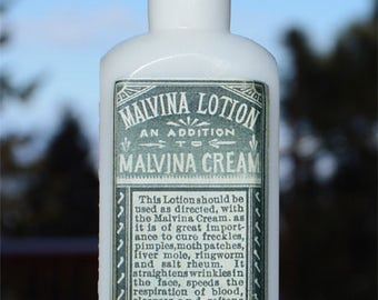Scarce antique Prof. Hubert's MALVINA LOTION antique pure WHITE milk glass colored bottle - late 1800's - Toledo Ohio