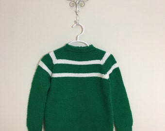 60s Girls Kelly Green and White Stripe Acrylic Pullover Sweater, Size 3T to 4T