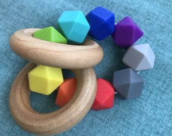 Teething Ring Sensory Teether Wood Silicone Teething Toy