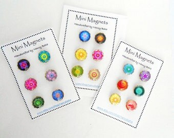 Mandala Glass Magnets- Fridge Magnets - Classroom Magnets - Needle Keep - Mini Needle Minders - Mag212/Mag213/Mag214