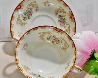 Noritake China Soup Cup and Saucer, Occupied Japan, Vintage