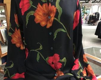 Vintage Chico's silk tunic length blouse size 1 S/M