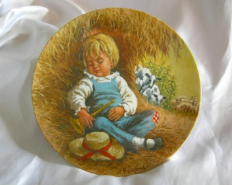Little Boy Blue Collectors Plate by RECO   Mother Goose Series by Jack McClellan   Vintage 1980