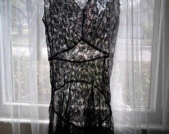 Vintage black lace camisole