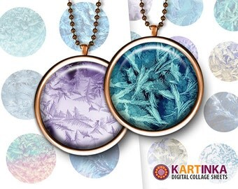 1 inch (25mm) & 1.5 inch Digital Download FROZEN TEXTURES Printable images for Round pendants Bezel trays Bottle caps Glass cabochons Crafts