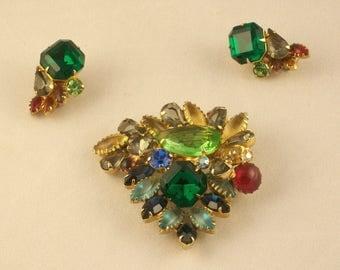 1950s Costume Jewelry Set Demi-Parure Earrings Broach Multi Color Rhinestone Well Made