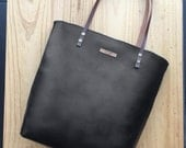 Black Leather tote, leather bag,custom color inside, whit your name, custom color leather straps, handbag,Tote bag, minimalistic tote.