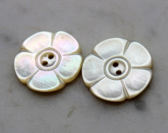 vintage mother of pearl  flower buttons matched pair. 2 holes 7/8 diameter. 1930's sewing supplies excellent condition.