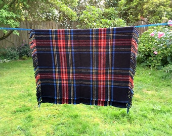 Heather Isle Throw/ Hebridean Wool Rug/ Plaid Wool Throw/ Scottish Wool Throw/ 37 x 54 with Fringe / Blue & Red Plaid/ Camp Cabin Blanket