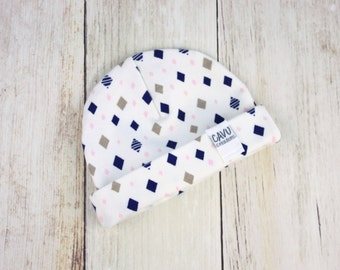 Organic Cotton Baby Hat in Navy, Gray, Pink, and White - Organic Baby Beanie in Designer Diamonds Print - Baby Girl Hat - READY TO SHIP!