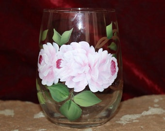 Hand Painted Stemless Wine Glasses (Set of 2) - Soft Pink Roses