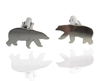 Polar Explorers                 - solid silver polar bear cufflinks