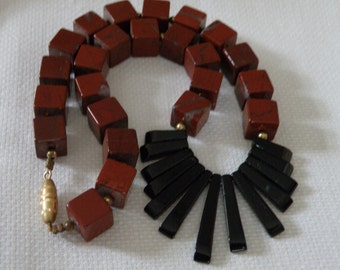 Red Jasper and Onyx Necklace - 14 inch
