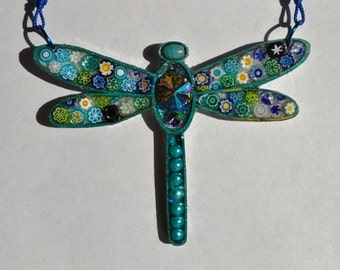 Mosaic, millefiori, Resin, Red, swarovski crystal, Dragonfly necklace