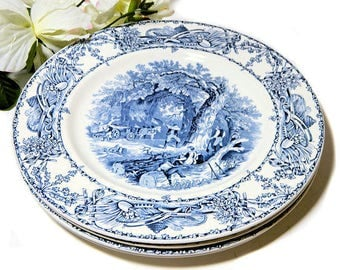Three Clarice Cliff Royal Staffordshire Blue Rural Scenes Dinner Plates