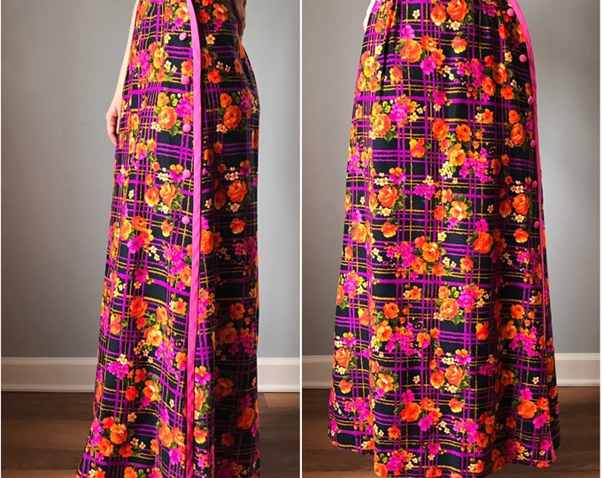 Vintage 70s High Waist Neon Floral Maxi Skirt