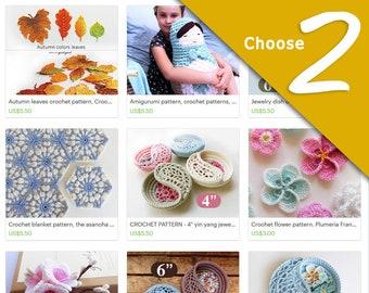 crochet patterns discount bundle, choose any 2 patterns. digital file last minute gift.