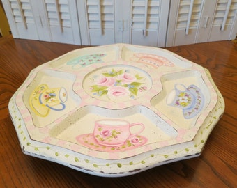 Mid Century Wooden Lazy Susan serving tray Centerpiece Hand Painted Teacups, Pink Roses, distressed shabby finish, Glass liners, Dip bowl