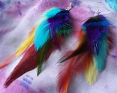RESERVED Super rainbow multicoloured feather earrings