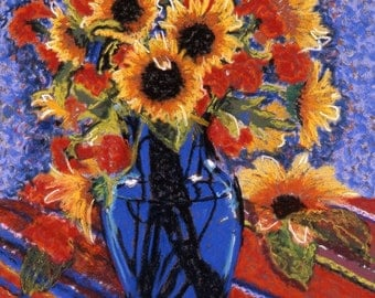 "Fine Art Print, Giclee Print, Sunflowers in a Cobalt Blue Vase, Red Stripes, Still Life, Pastel By Jan Maitland, Yellow, Blue, Red, 8"" X 10"""