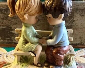 "Vintage 1971 Gorham Moppets Collection Fran Mar, 6"" Tall Porcelain ""Little Boy & Girl Holding Hands on Bench"", Made in Japan"
