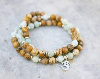 Beaded Wrap Bracelet - Yoga Bracelet - Om Bracelet
