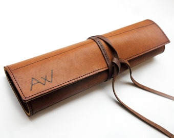 Leather chefs knife roll, Personalized knife Case, Brown leather chefs bag