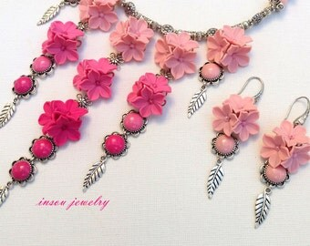 Pink Jewelry, Flower Jewelry, Wedding Jewelry, Pink Necklace, Pink Earrings, Statement Necklace, Flower Earrings, Handmade Jewelry, Romantic