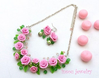Pink Roses Flower Jewelry Romantic Necklace Pink Necklace Statement Necklace Handmade Necklace Earrings Set Roses Wedding Jewelry Valentine