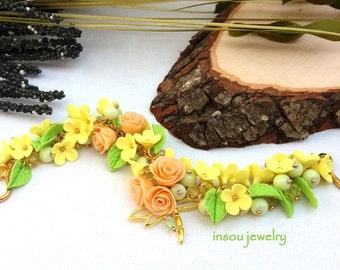 Flower Bracelet, Yellow Bracelet, Green Jewelry, Flower Jewelry, Roses, Spring Jewelry, Gift For Women, Handmade Bracelet, Wedding Jewelry