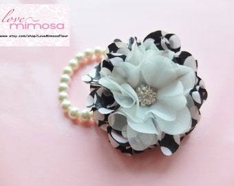 Wrist Corsage, Black and White Polka Dot Chiffon Corsage, bridesmaid Corsage