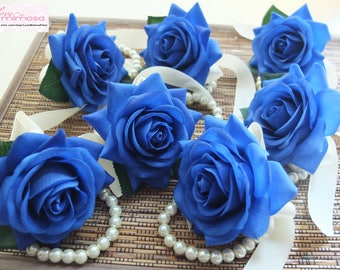 Wrist Corsage, Royal Blue rose with Ivory ribbon on pearl bracelet